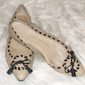 JACK ROGERS NEUTRAL NUDE FLATS BOW 5
